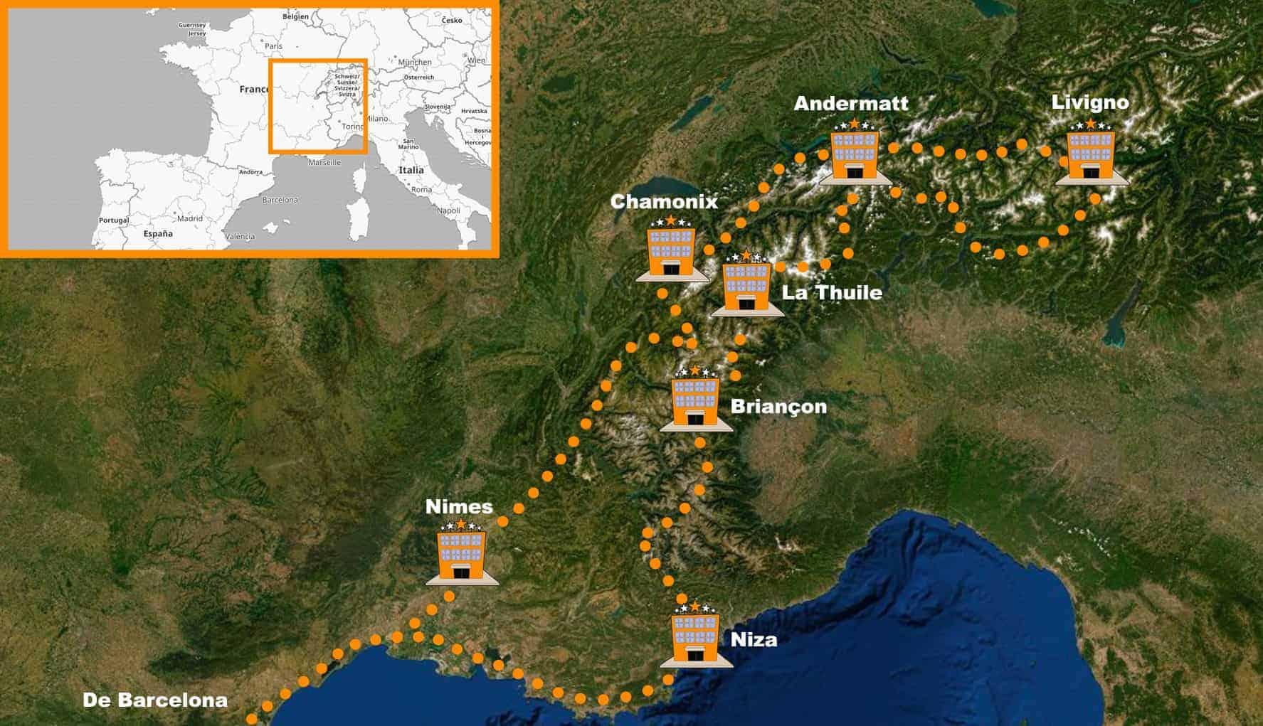 Viaje organizado en moto alpes itinerario