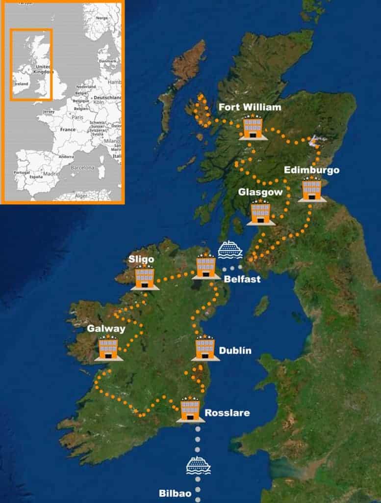 itinerario Viaje organizado en moto Irlanda y Escocia 100% Asfalto