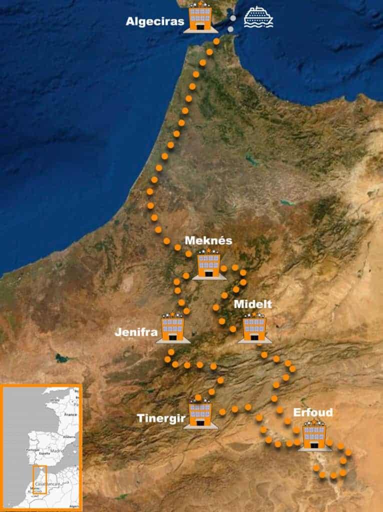 itinerario Viaje organizado en moto Trail a Marruecos X-Morocco Tour