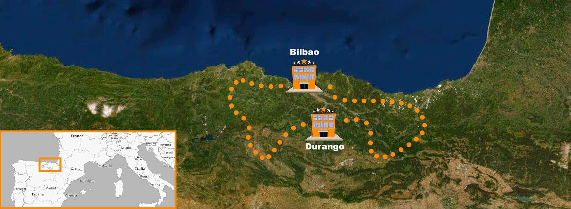 itinerario Viaje Organizado en moto Norte de España Bilbao