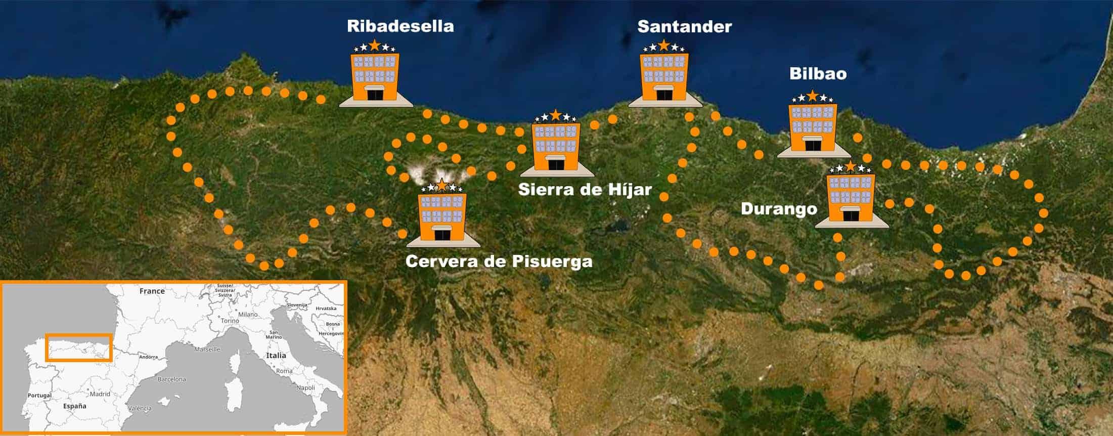 itinerario Viaje en moto organizado por el Norte de España