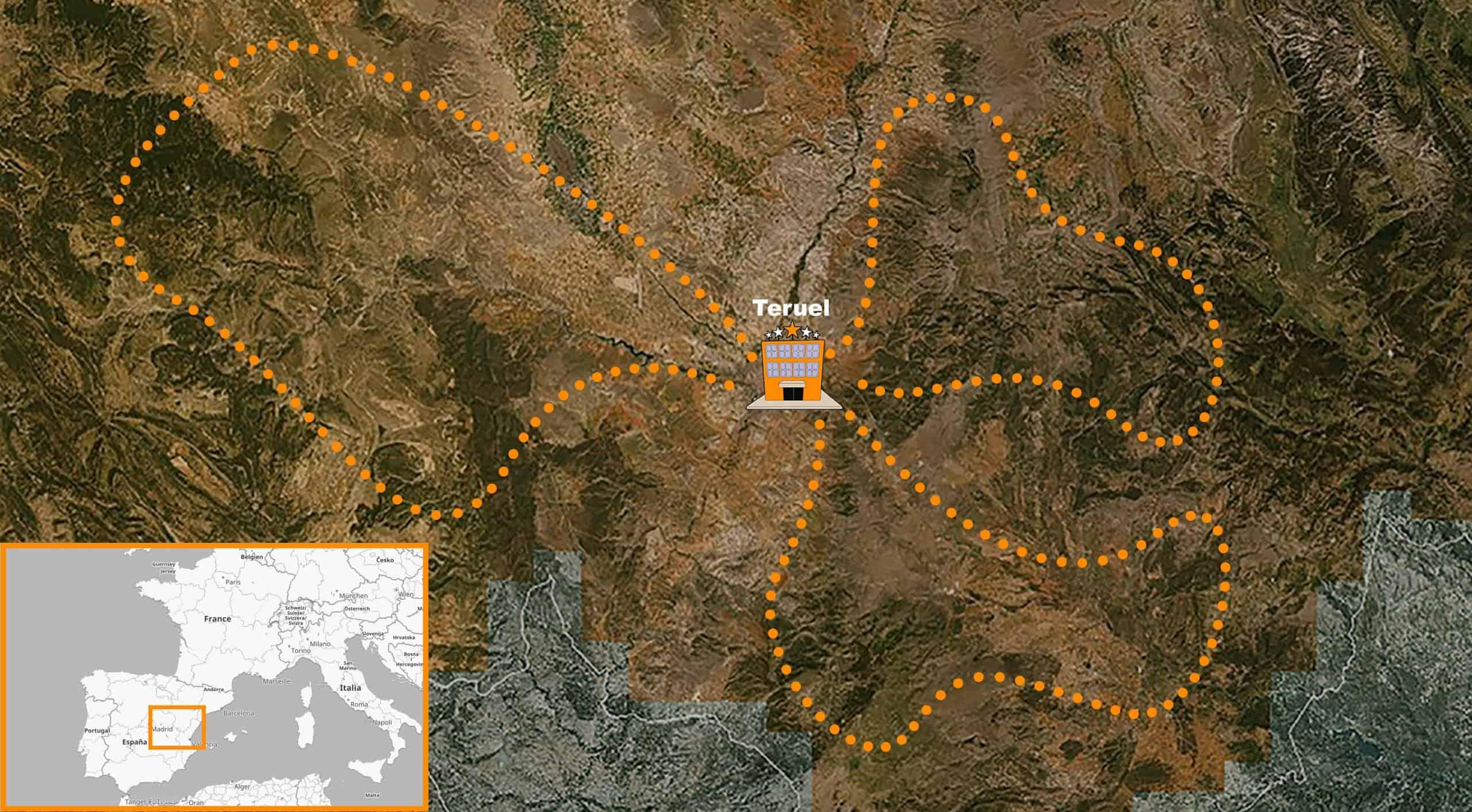 itinerario Viaje organizado en moto Trail por España Teruel