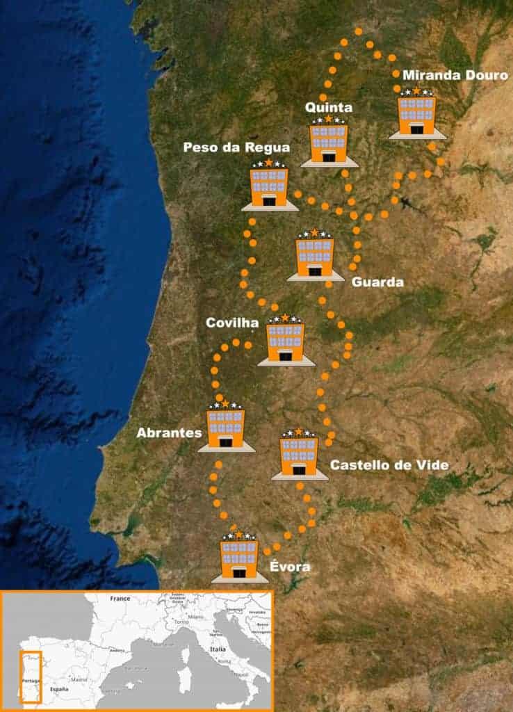 itinerario Viaje organizado en moto Trail por Portugal